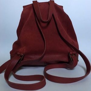 L.L. Bean Bags - L.L. Bean Vtg Suede/ Leather Drawstring Backpack